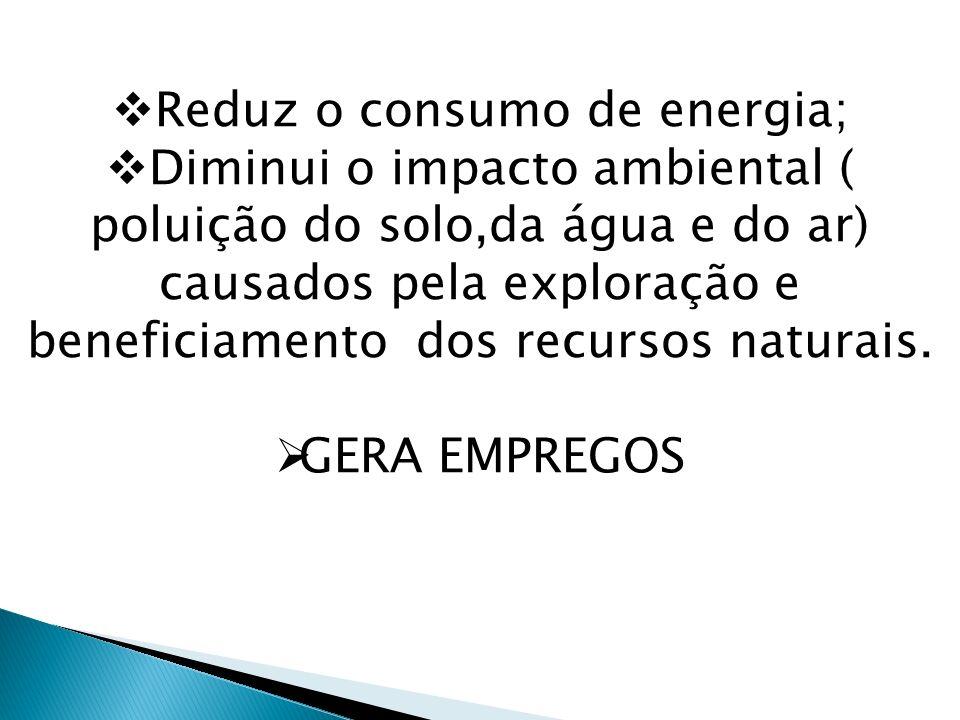 Reduz o consumo de energia; Diminui o impacto ambiental ( poluição do solo,da água e do ar) causados pela exploração e beneficiamento dos recursos nat