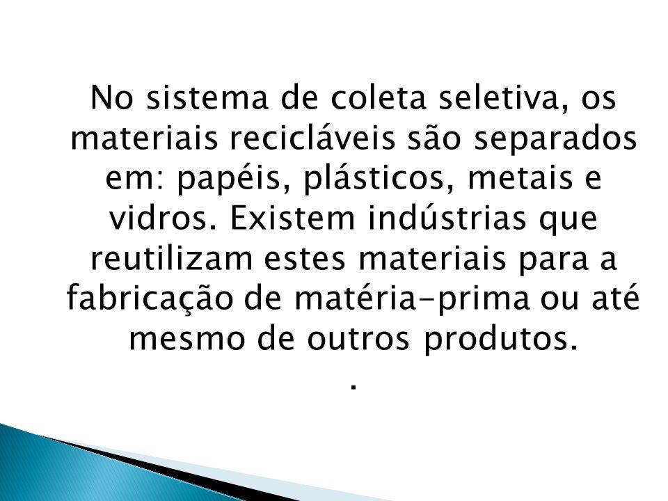 No sistema de coleta seletiva, os materiais recicláveis são separados em: papéis, plásticos, metais e vidros. Existem indústrias que reutilizam estes