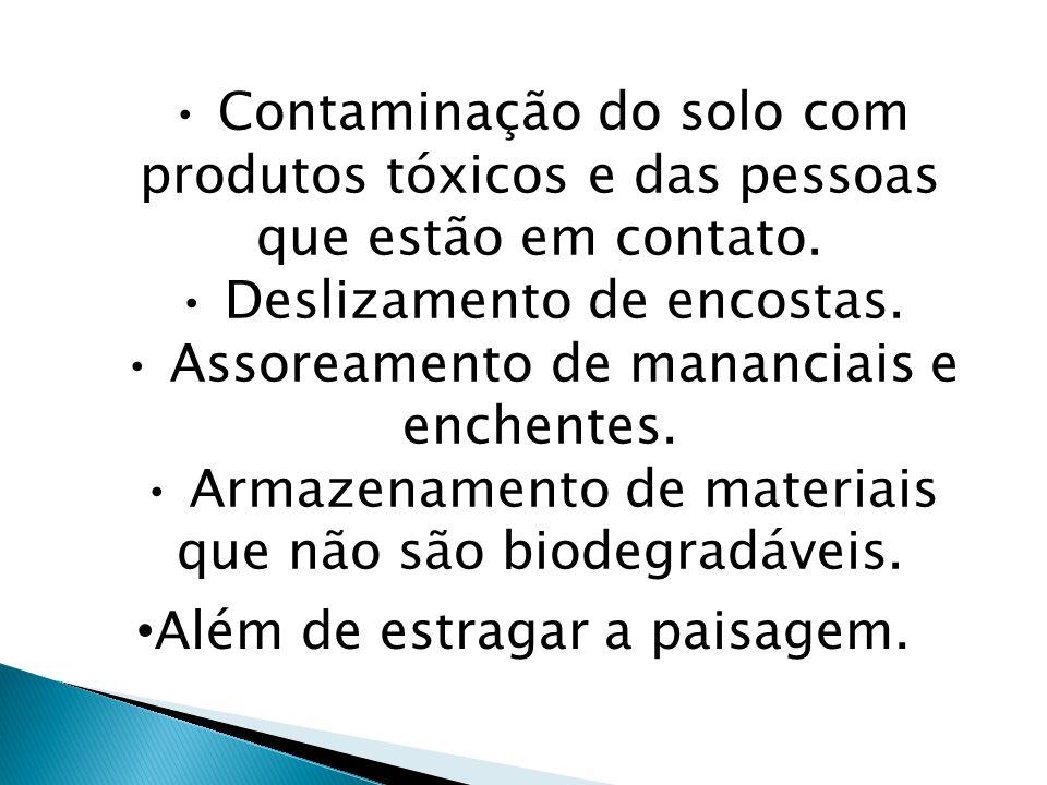 Contaminação do solo com produtos tóxicos e das pessoas que estão em contato. Deslizamento de encostas. Assoreamento de mananciais e enchentes. Armaze