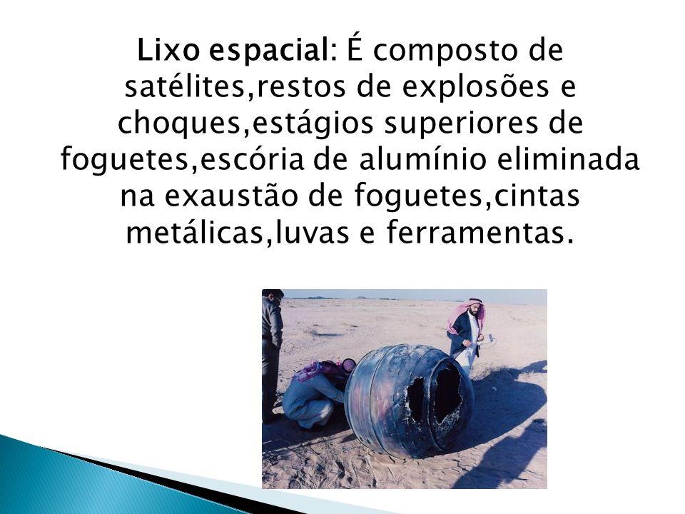 Lixo espacial: É composto de satélites,restos de explosões e choques,estágios superiores de foguetes,escória de alumínio eliminada na exaustão de fogu