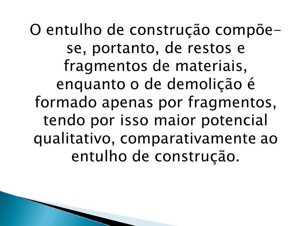 O entulho de construção compõe- se, portanto, de restos e fragmentos de materiais, enquanto o de demolição é formado apenas por fragmentos, tendo por