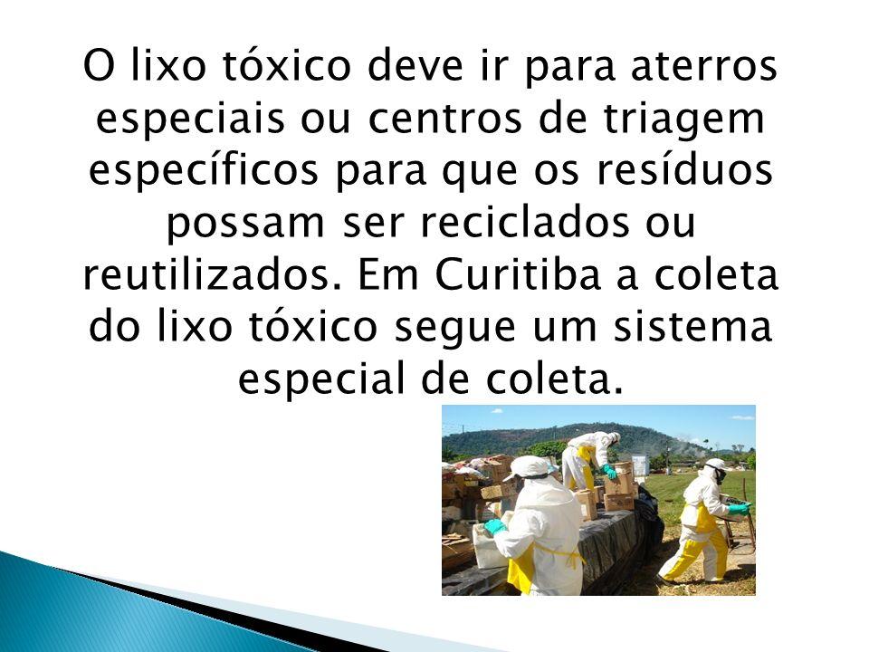 O lixo tóxico deve ir para aterros especiais ou centros de triagem específicos para que os resíduos possam ser reciclados ou reutilizados. Em Curitiba