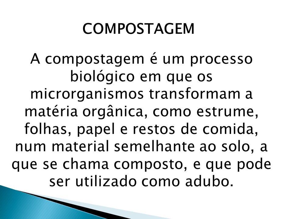 COMPOSTAGEM A compostagem é um processo biológico em que os microrganismos transformam a matéria orgânica, como estrume, folhas, papel e restos de com