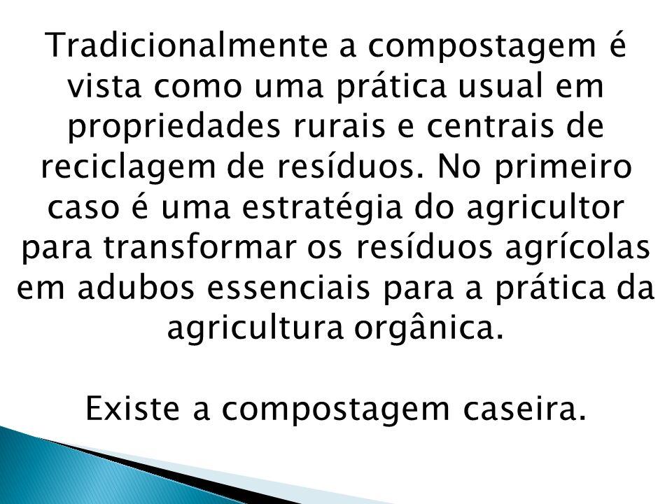 Tradicionalmente a compostagem é vista como uma prática usual em propriedades rurais e centrais de reciclagem de resíduos. No primeiro caso é uma estr
