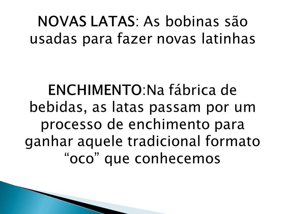NOVAS LATAS: As bobinas são usadas para fazer novas latinhas ENCHIMENTO:Na fábrica de bebidas, as latas passam por um processo de enchimento para ganh