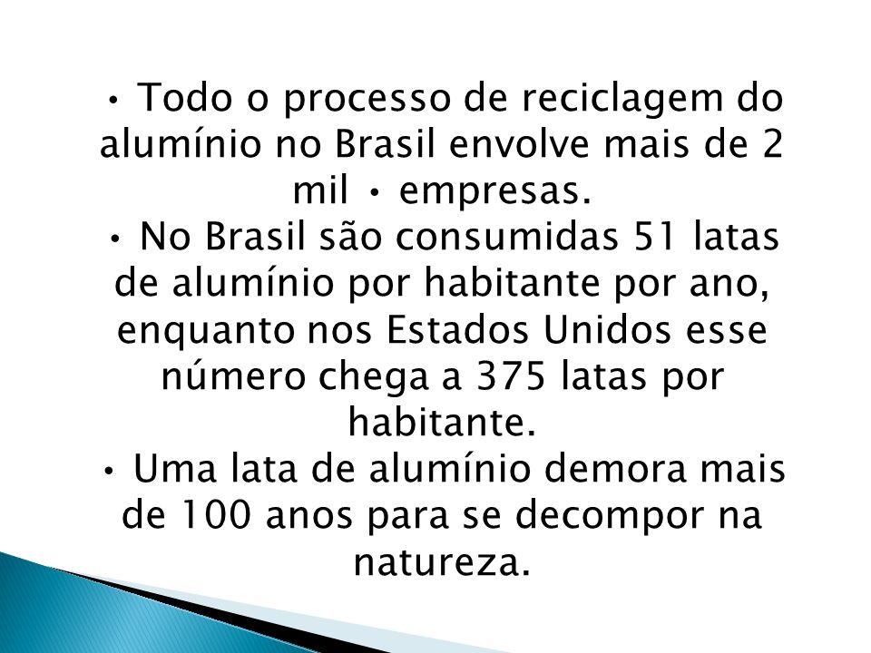 Todo o processo de reciclagem do alumínio no Brasil envolve mais de 2 mil empresas. No Brasil são consumidas 51 latas de alumínio por habitante por an