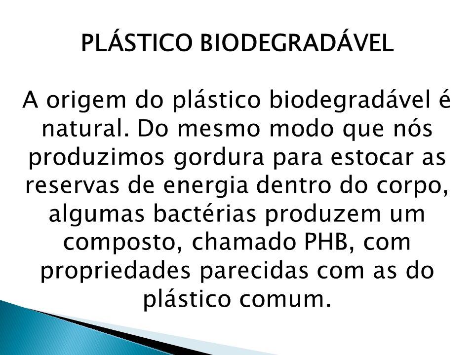 PLÁSTICO BIODEGRADÁVEL A origem do plástico biodegradável é natural. Do mesmo modo que nós produzimos gordura para estocar as reservas de energia dent