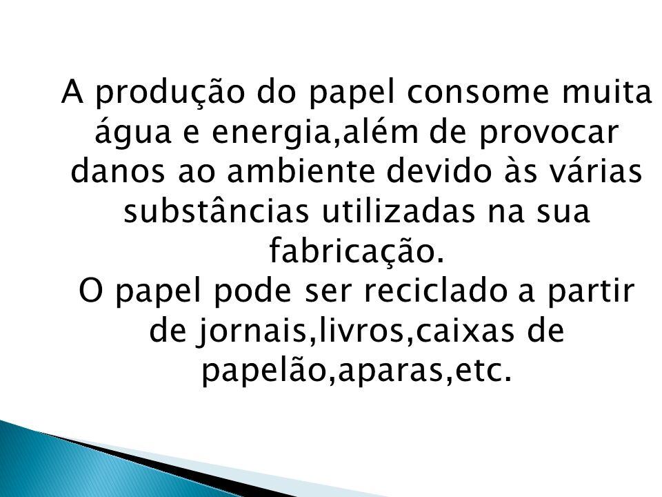 A produção do papel consome muita água e energia,além de provocar danos ao ambiente devido às várias substâncias utilizadas na sua fabricação. O papel