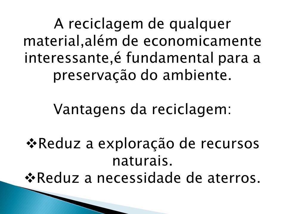 A reciclagem de qualquer material,além de economicamente interessante,é fundamental para a preservação do ambiente. Vantagens da reciclagem: Reduz a e