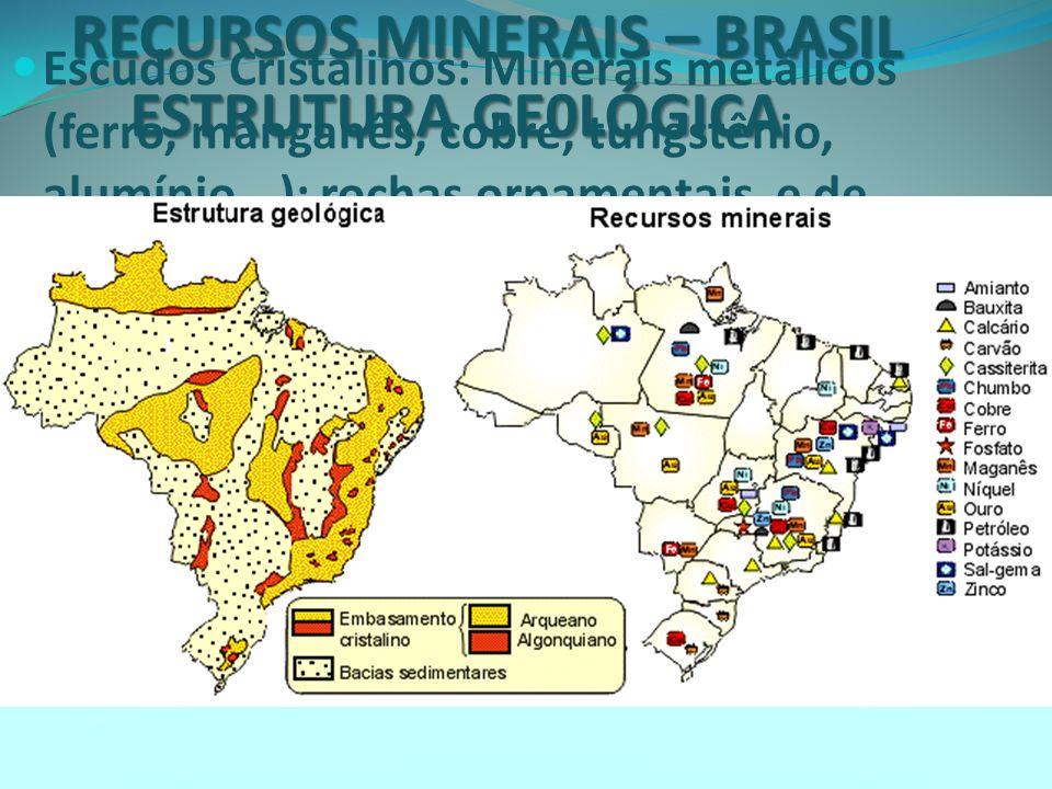 RECURSOS MINERAIS - BRASIL A atividade mineradora é monopolizada no comércio mundial: exige vultosos volumes de capitais (pesquisa, infra-estrutura, transporte) e de produção.