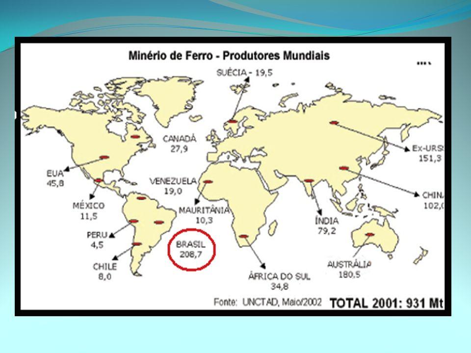 REGIÕES MINERADORAS: QUADRILÁTERO FERRÍFERO (MG) QUADRILÁTERO FERRÍFERO (MG) - Maior produção brasileira de minério de ferro (cerca de 60%), também há produção de manganês e ouro.