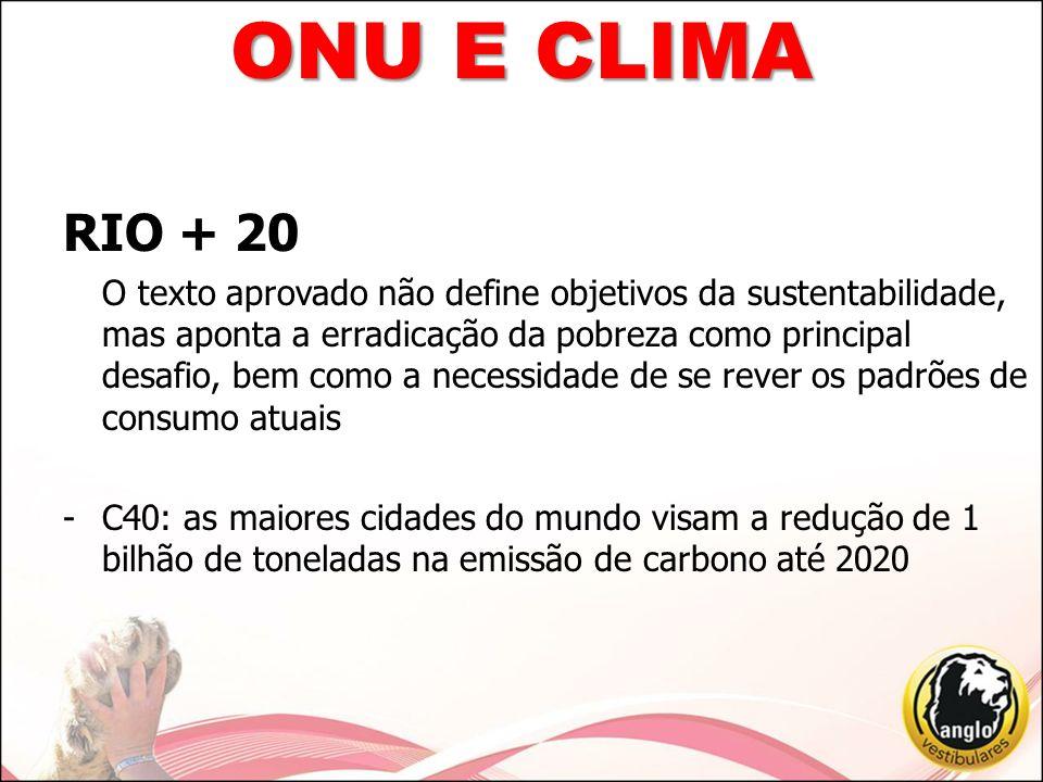 RIO + 20 -Brasil inclui no texto final o combate à corrupção e à lavagem de dinheiro -Texto final deixou de fora os direitos reprodutivos da mulher -Cúpula dos Povos: evento paralelo, aposta no conceito de Economia Verde (defendida pela ONU) e que a mesma discuta as questões sociais e ambientais em conjunto ONU E CLIMA