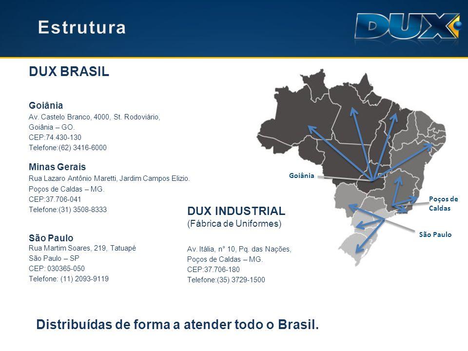 Goiânia (62) 3416-6000 Belo Horizonte (31) 3508-8333 Ribeirão Preto (16) 3514-0081 Campinas (19) 3112-0082 Rio de Janeiro (21) 3512-0080 São Paulo (11)2093-9117 E-mail dux@duxbrasil.com