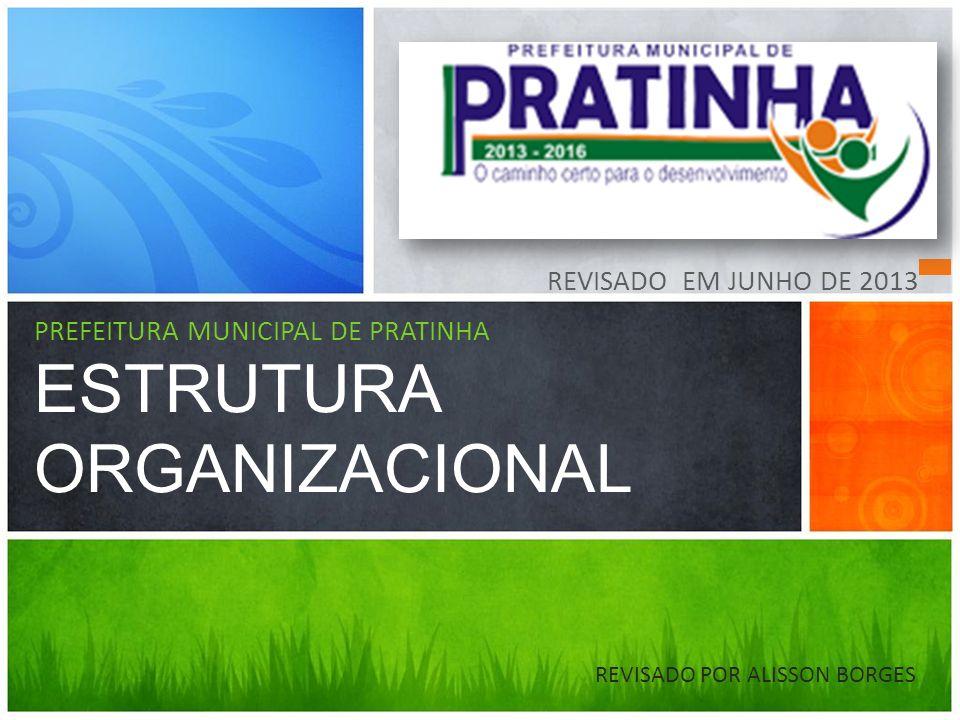 Estrutura Administrativa conforme a Lei 841/2010 que Dispõe sobre a Estrutura Organizacional e Administrativa da Administração Direta do Município de Pratinha- MG, e dá outras providências.