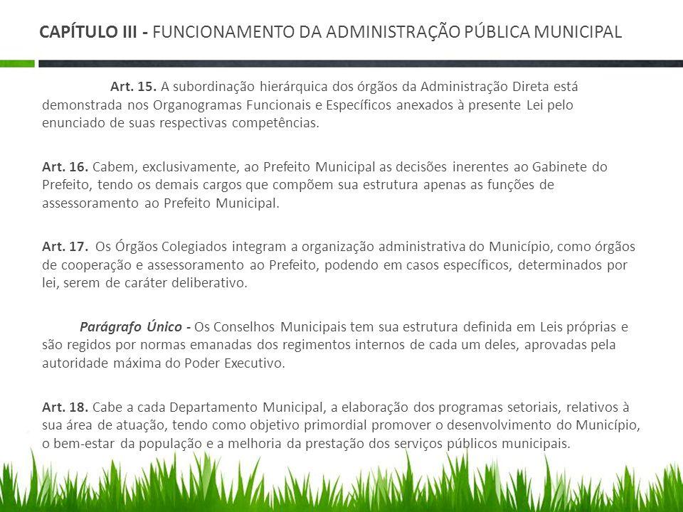 CAPÍTULO III - FUNCIONAMENTO DA ADMINISTRAÇÃO PÚBLICA MUNICIPAL Art. 15. A subordinação hierárquica dos órgãos da Administração Direta está demonstrad