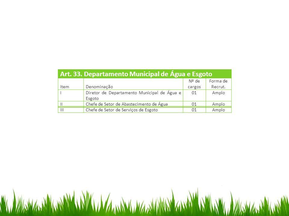 Art. 33. Departamento Municipal de Água e Esgoto Item Denominação Nº de cargos Forma de Recrut. IDiretor de Departamento Municipal de Água e Esgoto 01