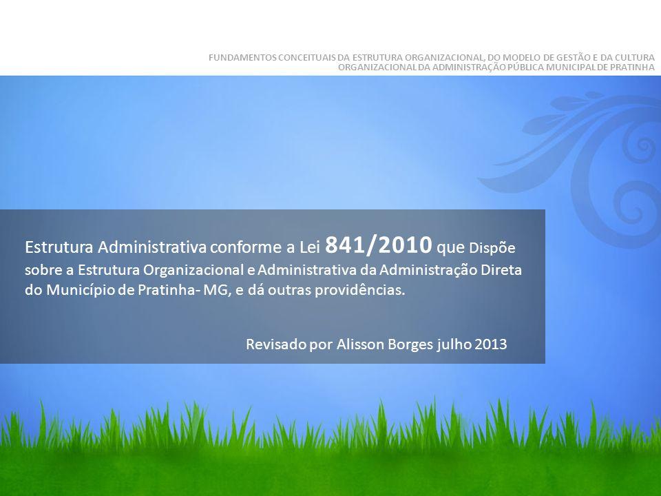 Estrutura Administrativa conforme a Lei 841/2010 que Dispõe sobre a Estrutura Organizacional e Administrativa da Administração Direta do Município de