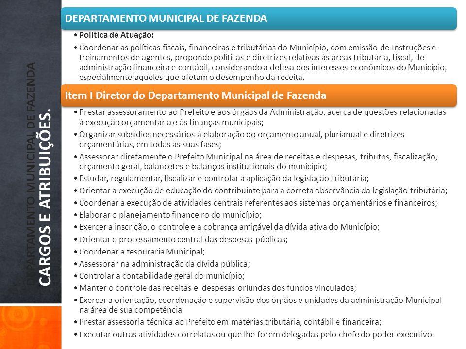 DEPARTAMENTO MUNICIPAL DE FAZENDA CARGOS E ATRIBUIÇÕES. DEPARTAMENTO MUNICIPAL DE FAZENDA Política de Atuação: Coordenar as políticas fiscais, finance