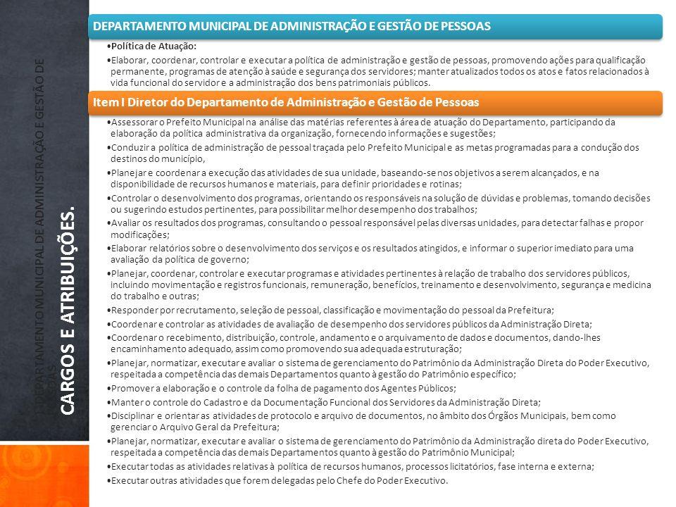 )- DEPARTAMENTO MUNICIPAL DE ADMINISTRAÇÃO E GESTÃO DE PESSOAS CARGOS E ATRIBUIÇÕES. DEPARTAMENTO MUNICIPAL DE ADMINISTRAÇÃO E GESTÃO DE PESSOAS Polít