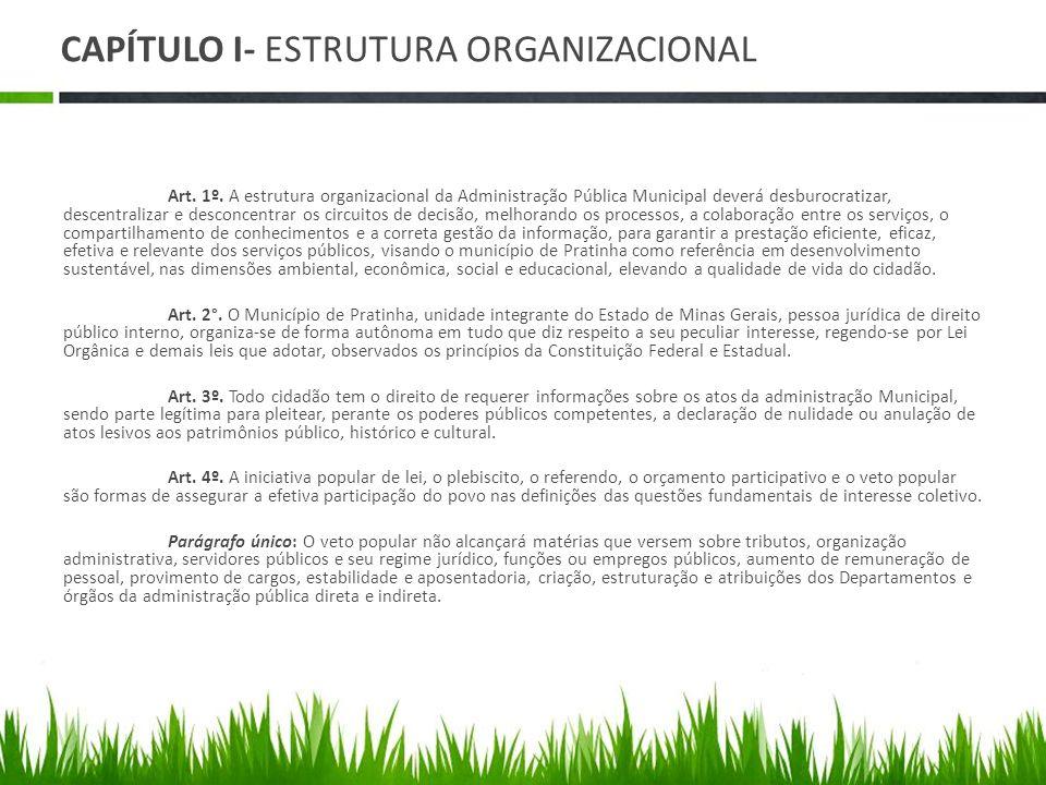 CAPÍTULO I- ESTRUTURA ORGANIZACIONAL Art. 1º. A estrutura organizacional da Administração Pública Municipal deverá desburocratizar, descentralizar e d
