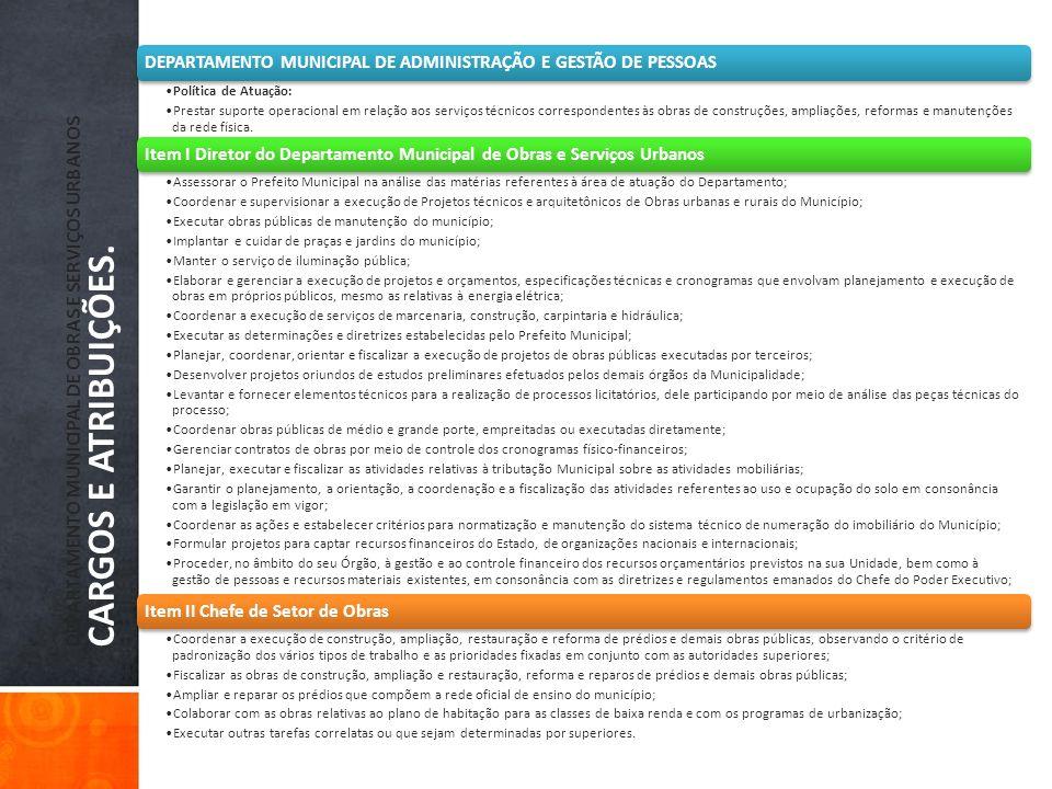 DEPARTAMENTO MUNICIPAL DE OBRAS E SERVIÇOS URBANOS CARGOS E ATRIBUIÇÕES.