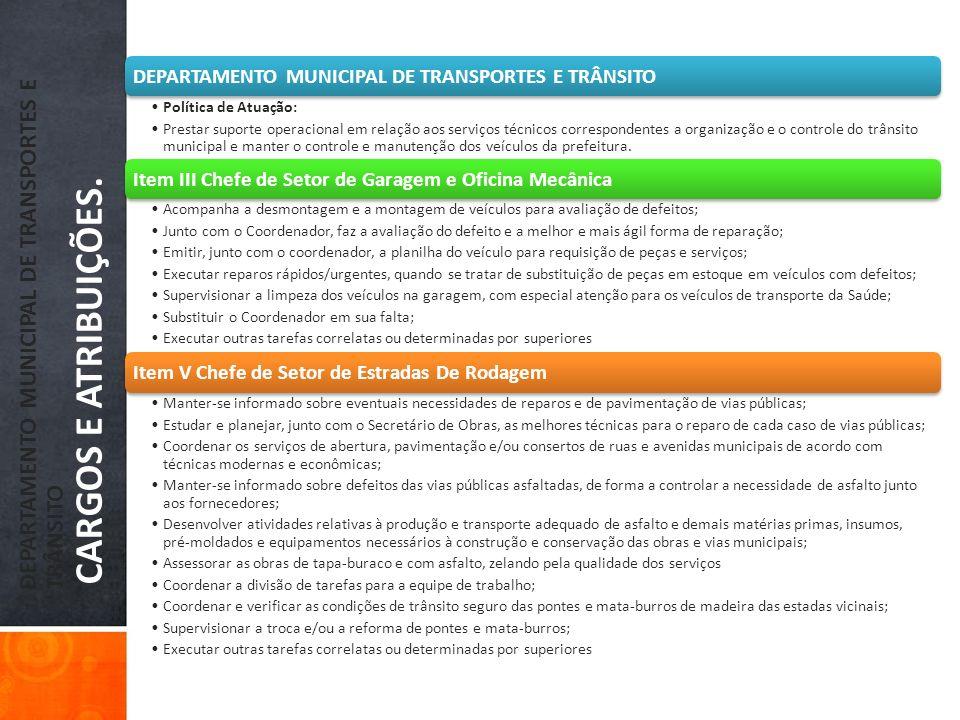 DEPARTAMENTO MUNICIPAL DE TRANSPORTES E TRÂNSITO CARGOS E ATRIBUIÇÕES.