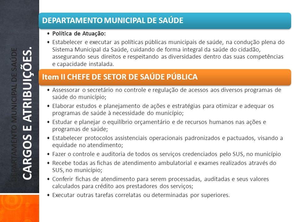 DEPARTAMENTO MUNICIPAL DE SAÚDE CARGOS E ATRIBUIÇÕES. DEPARTAMENTO MUNICIPAL DE SAÚDE Política de Atuação: Estabelecer e executar as políticas pública