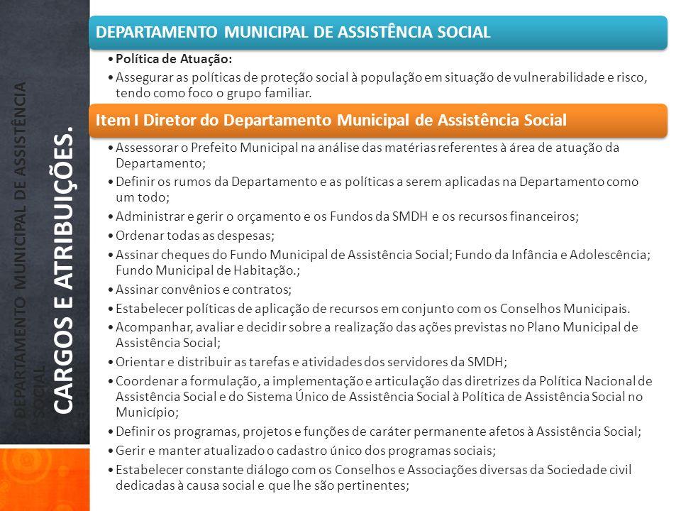 DEPARTAMENTO MUNICIPAL DE ASSISTÊNCIA SOCIAL CARGOS E ATRIBUIÇÕES. DEPARTAMENTO MUNICIPAL DE ASSISTÊNCIA SOCIAL Política de Atuação: Assegurar as polí