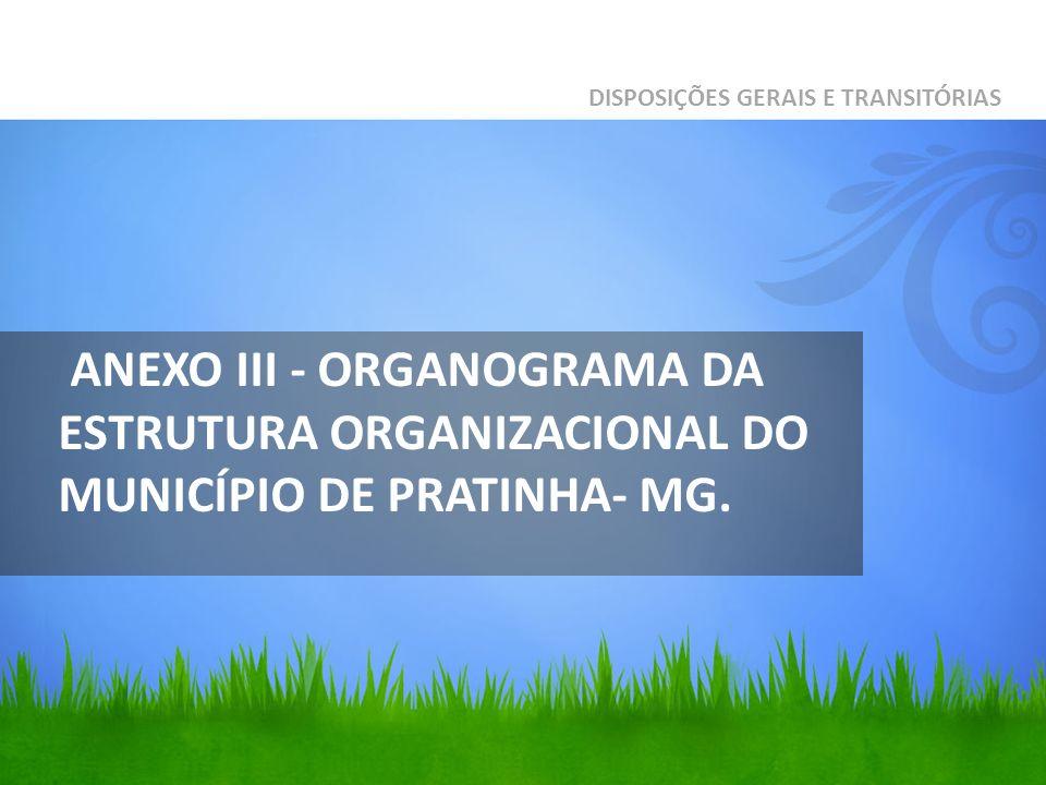 ANEXO III - ORGANOGRAMA DA ESTRUTURA ORGANIZACIONAL DO MUNICÍPIO DE PRATINHA- MG. DISPOSIÇÕES GERAIS E TRANSITÓRIAS