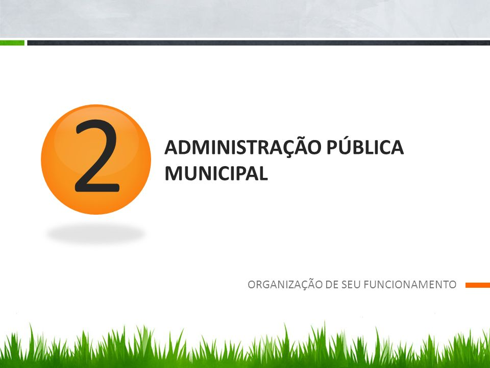 ADMINISTRAÇÃO PÚBLICA MUNICIPAL ORGANIZAÇÃO DE SEU FUNCIONAMENTO 2