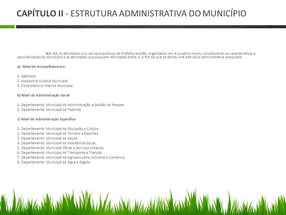 CAPÍTULO II - ESTRUTURA ADMINISTRATIVA DO MUNICÍPIO Art. 12. As atividades e os serviços públicos da Prefeitura estão organizados em 4 (quatro) níveis