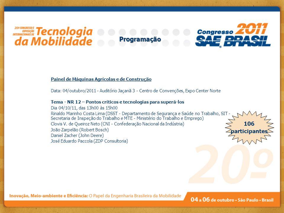 Painel de Máquinas Agrícolas e de Construção Data: 04/outubro/2011 - Auditório Jaçanã 3 - Centro de Convenções, Expo Center Norte Tema - NR 12 – Ponto