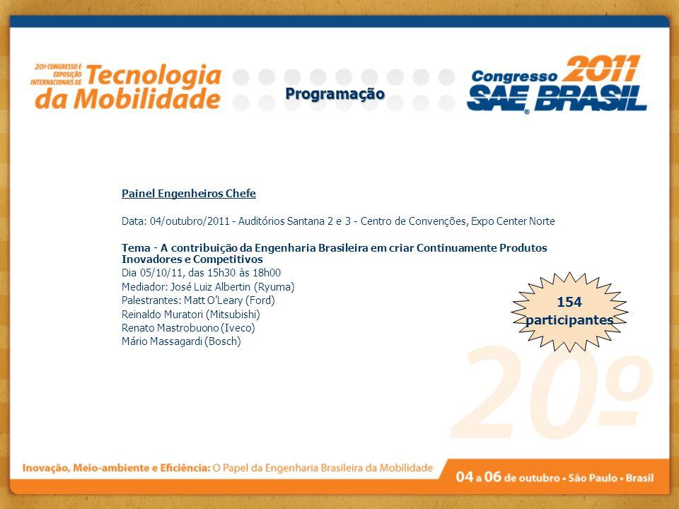 Painel Engenheiros Chefe Data: 04/outubro/2011 - Auditórios Santana 2 e 3 - Centro de Convenções, Expo Center Norte Tema - A contribuição da Engenhari