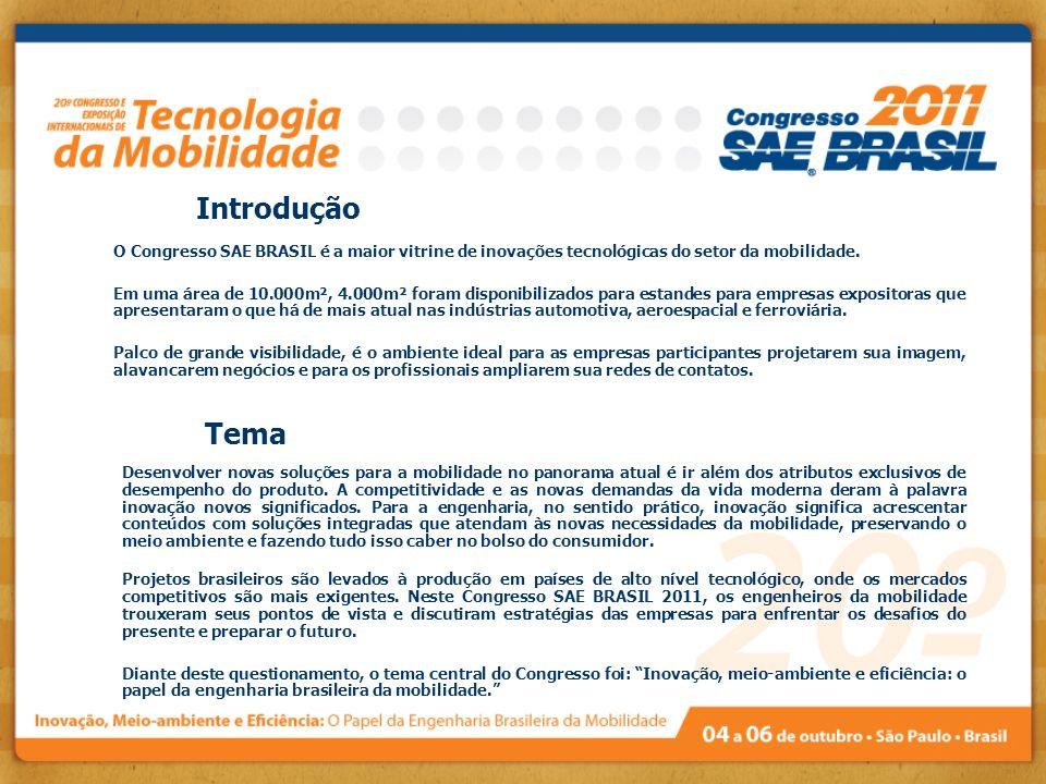 O Congresso SAE BRASIL é a maior vitrine de inovações tecnológicas do setor da mobilidade. Em uma área de 10.000m², 4.000m² foram disponibilizados par
