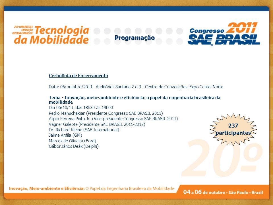 237 participantes Cerimônia de Encerramento Data: 06/outubro/2011 - Auditórios Santana 2 e 3 - Centro de Convenções, Expo Center Norte Tema - Inovação