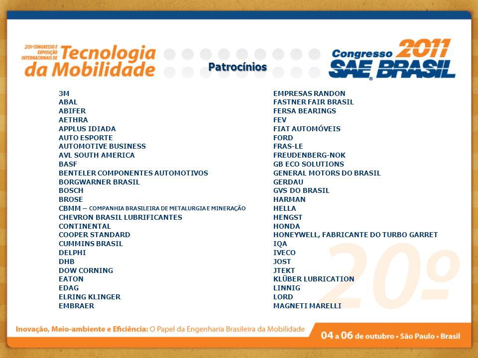 Patrocínios 3M ABAL ABIFER AETHRA APPLUS IDIADA AUTO ESPORTE AUTOMOTIVE BUSINESS AVL SOUTH AMERICA BASF BENTELER COMPONENTES AUTOMOTIVOS BORGWARNER BR