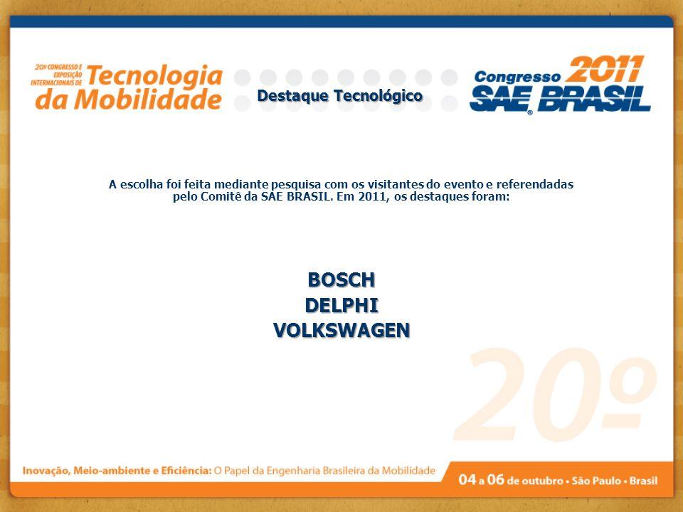 Destaque Tecnológico A escolha foi feita mediante pesquisa com os visitantes do evento e referendadas pelo Comitê da SAE BRASIL. Em 2011, os destaques