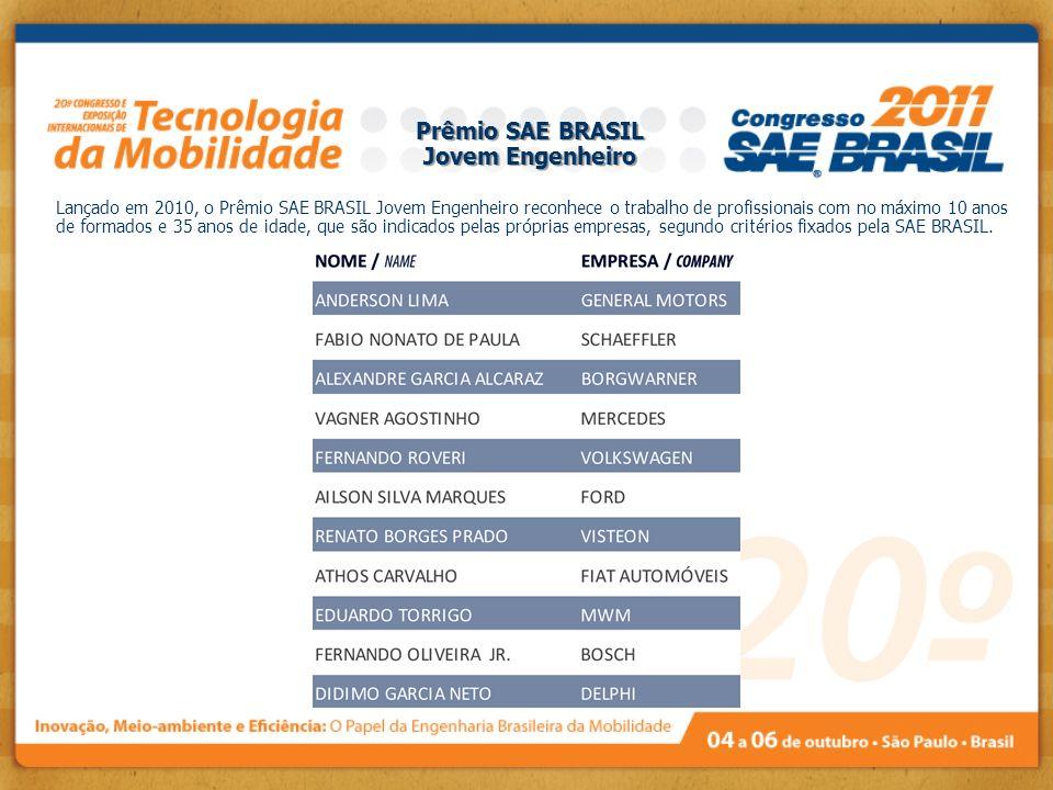 Lançado em 2010, o Prêmio SAE BRASIL Jovem Engenheiro reconhece o trabalho de profissionais com no máximo 10 anos de formados e 35 anos de idade, que