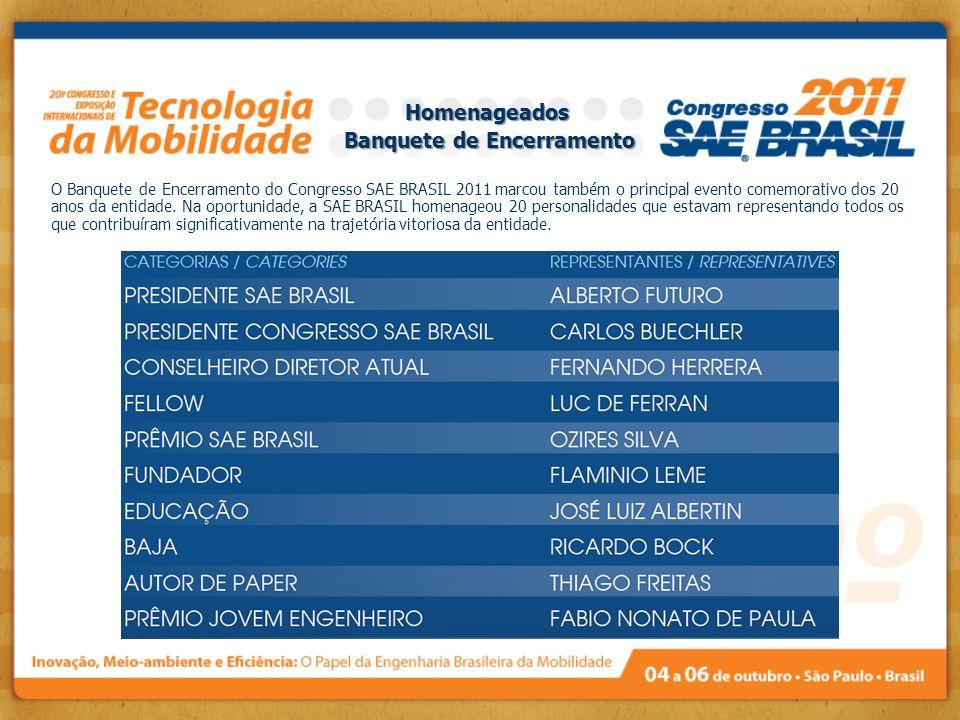 O Banquete de Encerramento do Congresso SAE BRASIL 2011 marcou também o principal evento comemorativo dos 20 anos da entidade. Na oportunidade, a SAE