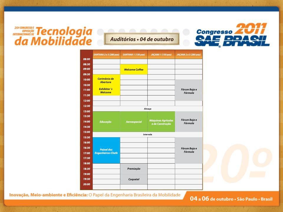Cerimônia de Abertura Data: 04/outubro/2011 - Auditório Santana 2 e 3 - Centro de Convenções, Expo Center Norte Tema - Competências da Engenharia Brasileira para a Mobilidade do Futuro Dia 04/10/11, das 09h30 às 10h30 Dr.