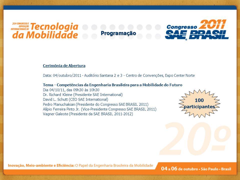 Cerimônia de Abertura Data: 04/outubro/2011 - Auditório Santana 2 e 3 - Centro de Convenções, Expo Center Norte Tema - Competências da Engenharia Bras