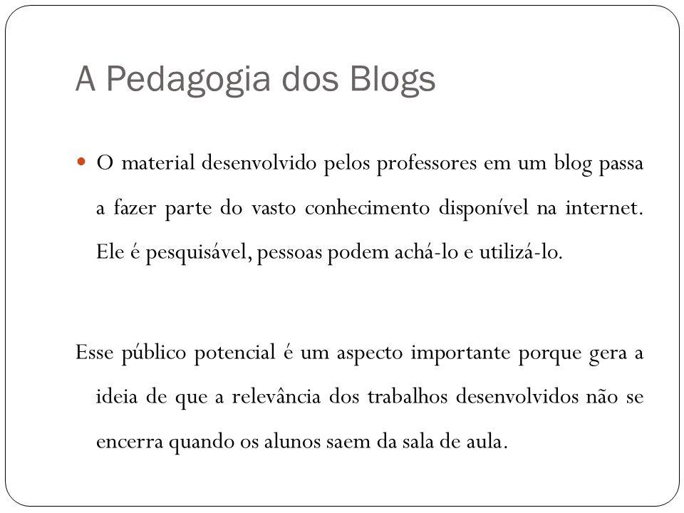 A Pedagogia dos Blogs O material desenvolvido pelos professores em um blog passa a fazer parte do vasto conhecimento disponível na internet. Ele é pes