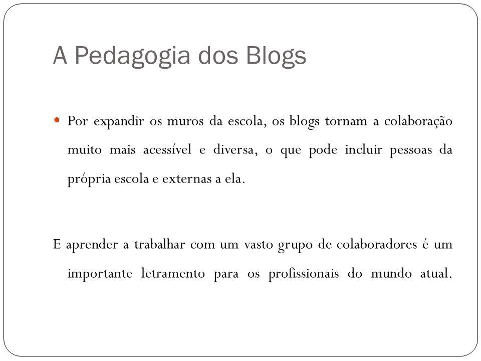 A Pedagogia dos Blogs Por expandir os muros da escola, os blogs tornam a colaboração muito mais acessível e diversa, o que pode incluir pessoas da pró
