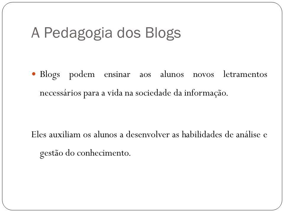 A Pedagogia dos Blogs Blogs podem ensinar aos alunos novos letramentos necessários para a vida na sociedade da informação. Eles auxiliam os alunos a d