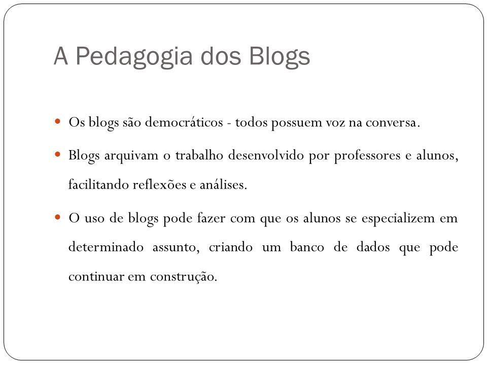 A Pedagogia dos Blogs Os blogs são democráticos - todos possuem voz na conversa. Blogs arquivam o trabalho desenvolvido por professores e alunos, faci