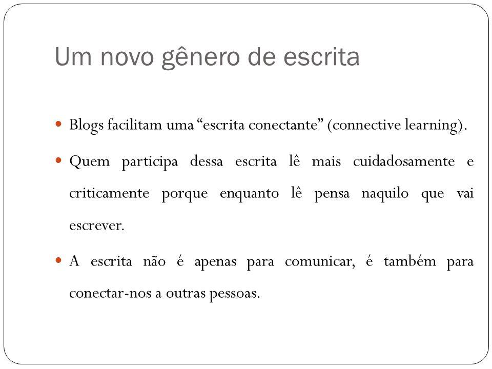 Um novo gênero de escrita Blogs facilitam uma escrita conectante (connective learning). Quem participa dessa escrita lê mais cuidadosamente e criticam