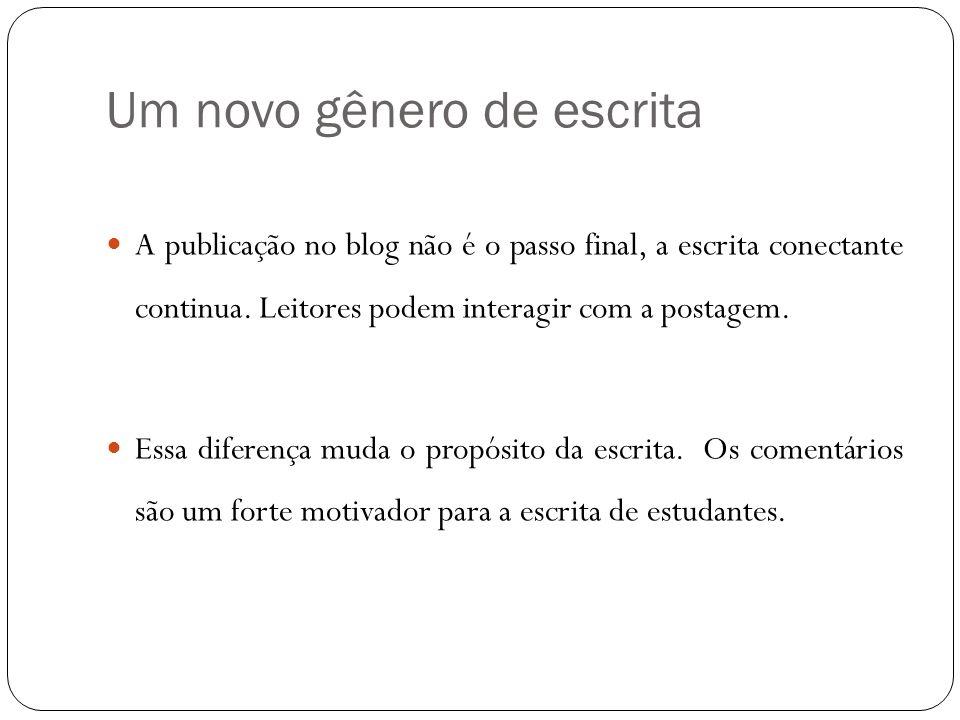 Um novo gênero de escrita A publicação no blog não é o passo final, a escrita conectante continua. Leitores podem interagir com a postagem. Essa difer