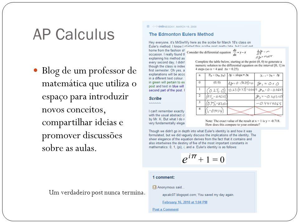 AP Calculus Blog de um professor de matemática que utiliza o espaço para introduzir novos conceitos, compartilhar ideias e promover discussões sobre a