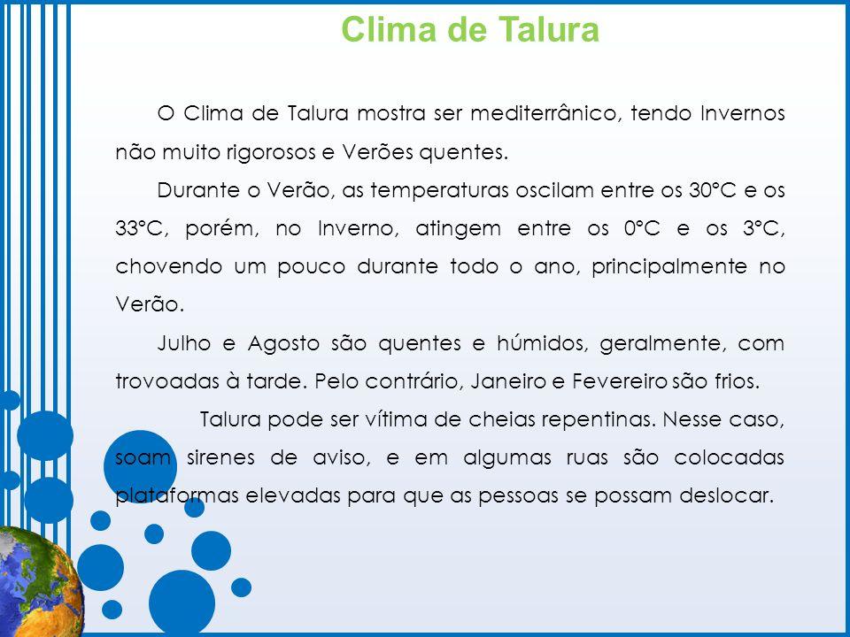 Clima de Talura O Clima de Talura mostra ser mediterrânico, tendo Invernos não muito rigorosos e Verões quentes. Durante o Verão, as temperaturas osci