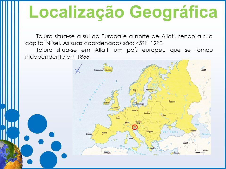 Localização Geográfica Niisel Talura situa-se a sul da Europa e a norte de Ailati, sendo a sua capital Niisel. As suas coordenadas são: 45 o N 12 o E.